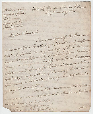 ADMIRAL PETER RAINIER, Prince of Wales Island [PENANG], 1805 autograph letter