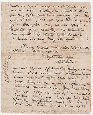 DAVID LIVINGSTONE. 2 pages of early Autograph Letter from Bechuanaland c.1847