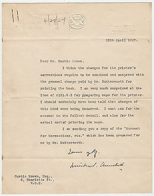 WINSTON CHURCHILL, Signed Letter about The World Crisis, Vol III, April 1927