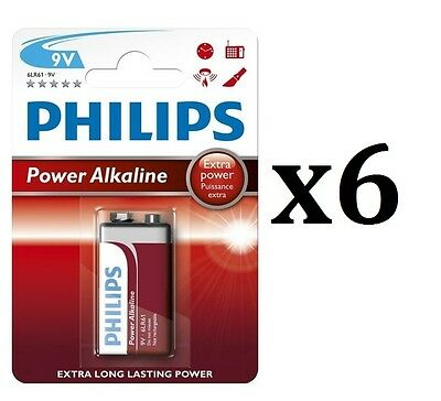 6 X Philips Power Alkaline 9V Block Batteries Battery Replaces Extra Power 6LR61