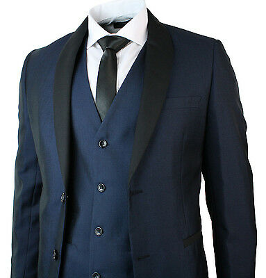 Mens Round Shawl Lapel Tuxedo Dinner Suit 3 Piece Wedding Prom Party Blue Black