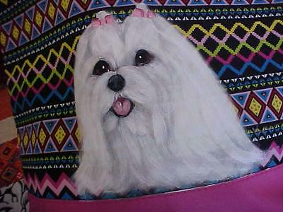 Maltese Hand Painted Tote Handbag Wonderful!!