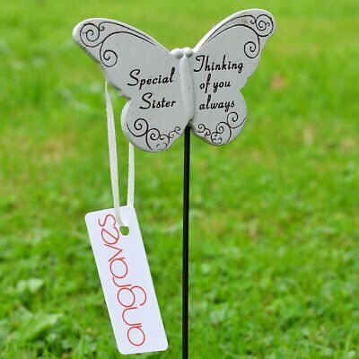 Thinking of Special Sister Butterfly Memorial Tribute Stick Graveside Plaque