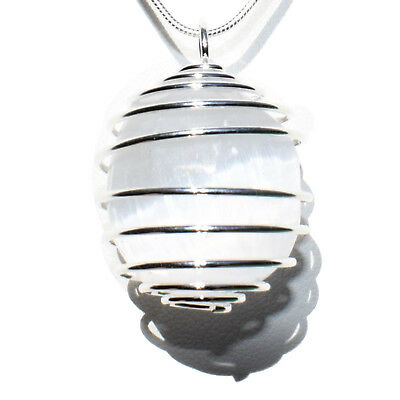 "CHARGED Polished Moroccan Selenite Crystal Perfect Pendant™ 20"" Silver Chain"