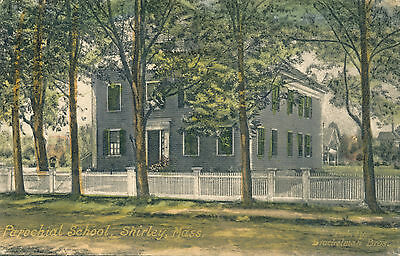 1924 Shirley Massachusetts Parochial School Charming Letter Hand-colored
