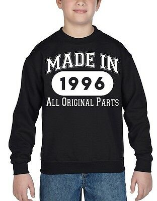 Made In 1996 Youth Crewneck All Original Parts 20th Birthday Gift Sweatshirts