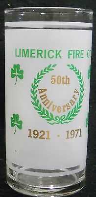 Beer Soda Glass Limerick Fire Company 50th Anniversary 1921-1971 Pennsylvania