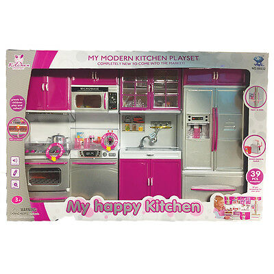 Doll Playsets Modern Kitchen 32 Full Deluxe Kit with Lights & Sounds  Kids Gift