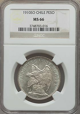 1910 SO Chile Peso, NGC MS 66, Superb, Finest @ NGC