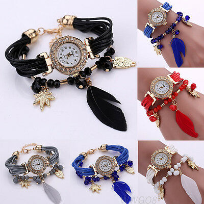 Fashion Women Watch Bracelet Crystal Feather Weave Stainless Steel Dress Watches