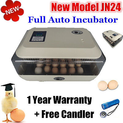 Full Automatic 24 Egg Incubator Poultry Hatcher Hatching 24 Chicken Eggs+ Candle