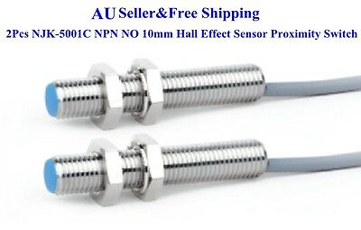 2Pcs NJK-5001C NPN NO 10mm Hall Effect Sensor Proximity Switch DC 6~36V AU
