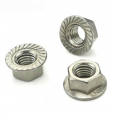 2Pcs M10*1.25mm Fine Pitch Serrated Flange Nuts Hex Lock Nuts 304 A2 Stainless