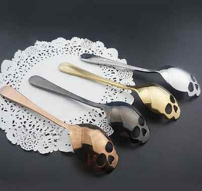 Stainless Steel Skull Shape Coffee Sugar Spoon Dessert Gothic Funny Gift US