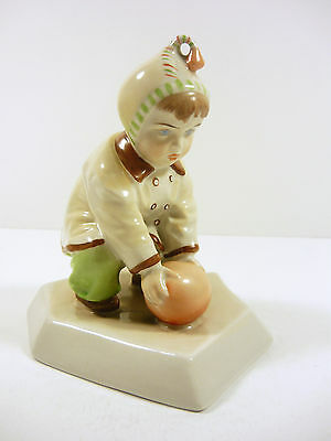 """Zsolnay, Child Playing with a Ball 5.12"""", Artist Signed Porcelain Figurine !"""