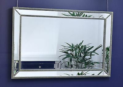 Large Silver Mirror on Mirror with Beaded Frame 120cm x 80cm