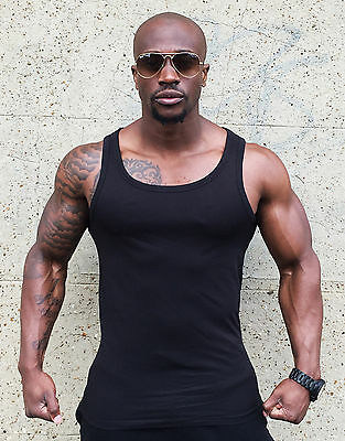 144 MENS VESTS FITTED 100% Cotton TANK TOP SUMMER TRAINING GYM TOPS STRETCH S-XL