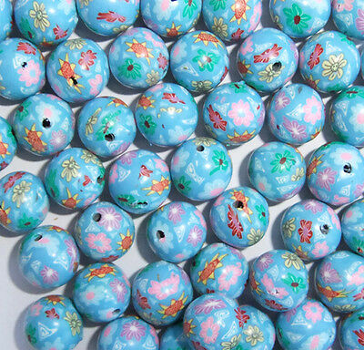 30 x Blue Polymer Clay Beads with Pink, Red and White Flowers  - 10mm