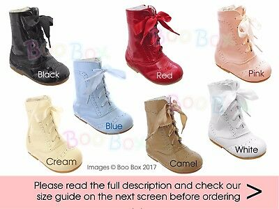 Baby Girls & Girls Faux Patent Spanish Lace Up Boots Sizes 2(EU18) - 12(EU30)