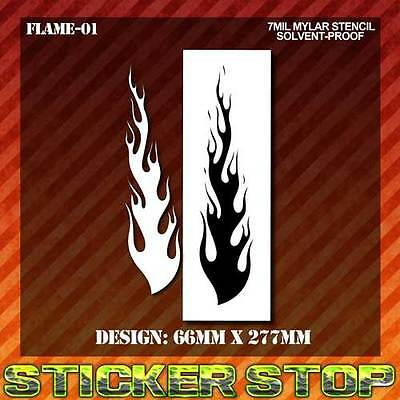 FLAME LONG MYLAR STENCIL (Airbrush, Craft, Texture, Re-usable)