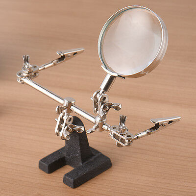 60mm Helping Hand Soldering Magnifier Glass With Clamp Loupe Jewelry Repair Tool