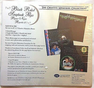 Creative Memories 7x7 Black Ruled Pages 5 sheets / 10 pgs. NIP Scrapbook RCM-7BR