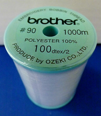 BROTHER Embroidery Machine WHITE EMBROIDERY BOBBIN THREAD 1000m (METRES)