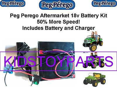 NEW! 18V Conversion UPGRADE FOR PEG PEREGO JOHN DEERE GATOR  BATTERY AND CHARGER