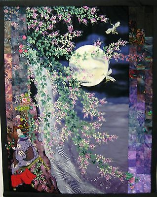 """Quilted Wall Hanging/Geisha by the Waterfall/29 1/2"""" x 36""""/Appx. 200 Pcs./Signed"""