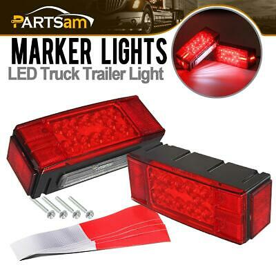 """Pair Over 80"""" LED Submersible Combination Trailer Boat Stop Turn Tail Lights Red"""