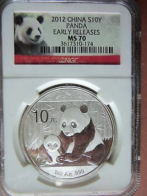 """2012 China Panda 1 Oz. Silver Coin MS70 """"Early Releases"""" Pedigree NGC Red Label"""