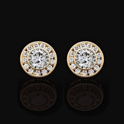 14K Yellow Gold 1.5Ct Created Round Diamond Bezel Halo Cluster Stud Earrings