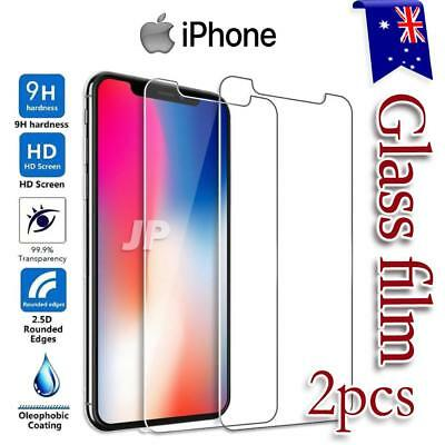 2x Apple iPhone X XS Max XR 7 8 Plus Tempered Glass Screen Protectors Film Guard