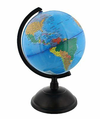 Spinning World Globe with Stand- Desktop Political Globe  8 Inch