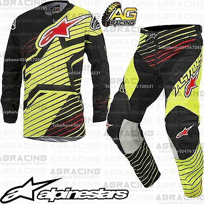 Alpinestars 2017 Youth Racer Braap Yellow Flo Black Jersey Pants Kit Motocross