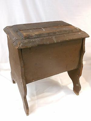 Antique Primitive Handmade Wood Shoe Shine Stool Sewing Bench w/ Hinged Lid