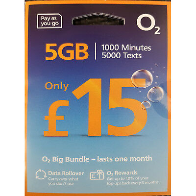 O2 Pay As You Go £15 Big Bundle Sim Card 3 in 1 Micro Nano PAYG 1GB DATA 02