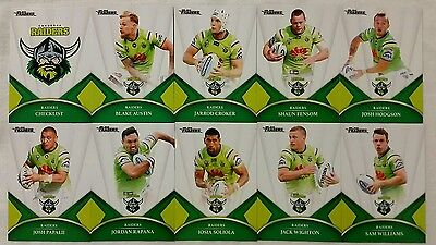 NRL 2016 Trading Cards Canberra Raiders full set of 10
