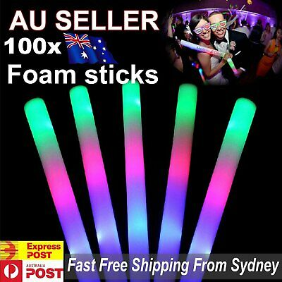 100x LED Foam Sticks RGB Thunder 48cm Glow Stick Flashing Light Rave Party Cheer