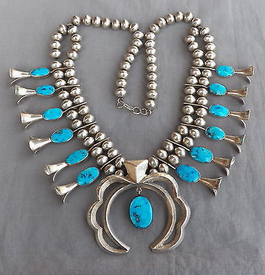 Vintage Native American Silver Turquoise Squash Blossom Necklace 241 Grams