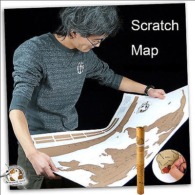52x 88cm Deluxe Scratch Map World Poster Travel Atlas Personalised