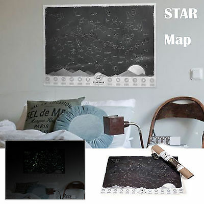 Star Map Glow in the Dark Night Sky Constellations Astronomy Zodiac Chart Poster