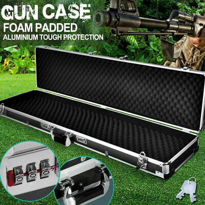 New Hard Gun Case Safe Rifle Shoot Box Portable Carry Hunting Lock Double