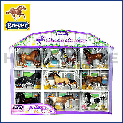 New Breyer Horse Crazy 10 Horses Set Shadow Box Collection 1:32 Stablemates