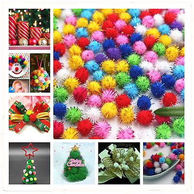 100pcs Small Snow Fluffy Mixed Color DIY Present Make Round Kids' Craft Pom Ball