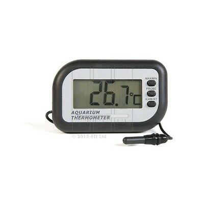 Aquarium thermometer with max min and temperature alarm 1m wire & probe 810-925
