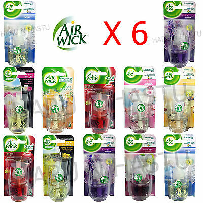 6 X Airwick Air Wick Electrical Plug In Refills Freshener Scent Home Office