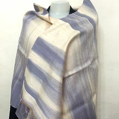 Thai Mulberry Silk Natural Blue Color Dyeing Shawl Hand-Weaving Handcraft Gift