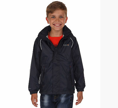 New Boys/Childrens Navy Regatta Fieldfare Waterproof Packable Jackets. UK SIZES