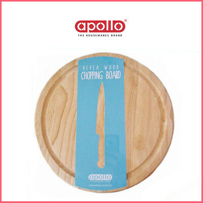 25cm Bread Board Round Wooden Cutting Chopping with Rim Serving HeveaWood APOllO